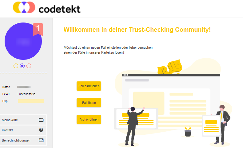 Screenshot Mitgliederbereich von codetekt.org